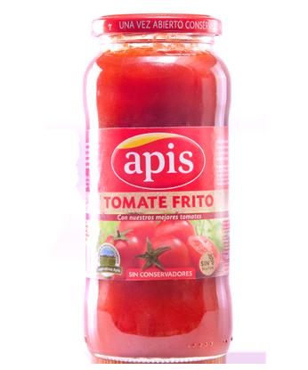 tomate frito en vidrio